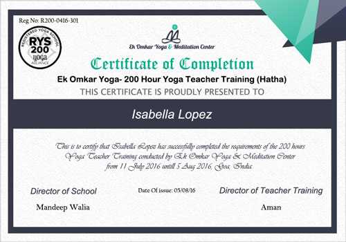 200 Hr Yoga Teacher Training Course Goa & Rishikesh- Ek Omkar Yoga